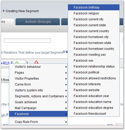 Facebook data for segments