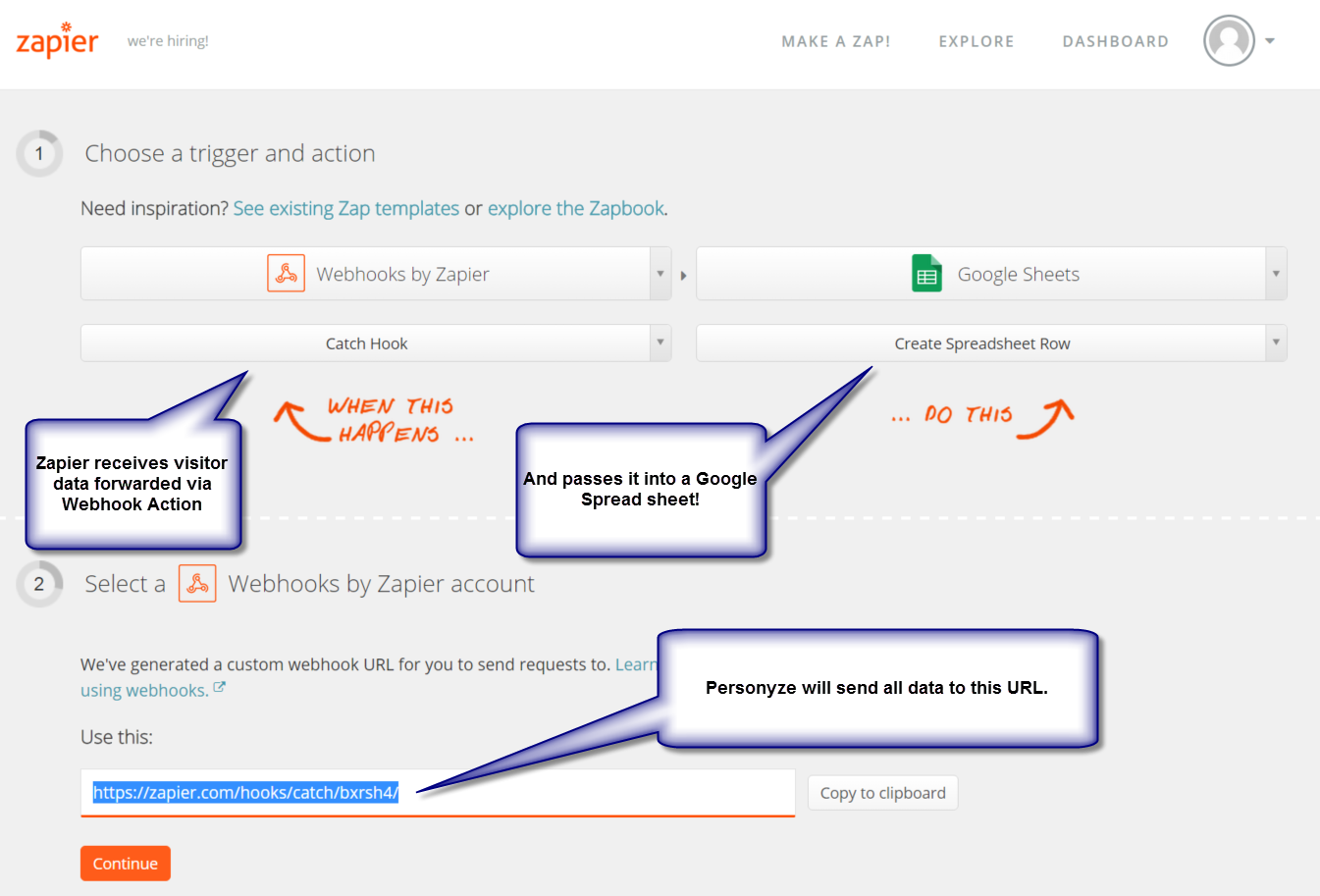 Setting up the Webhook on Zapier's end